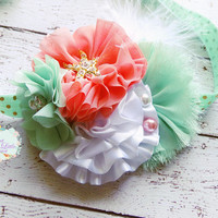 Beach Headband, Gold Starfish Headband, Coral Mint White Hairband, Infant Hair Bow Flower, Big Feather Bows, Newborn Girl Props, Large Clip