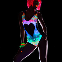 Hooded Neon Bodysuit -EDM Clothing