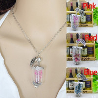 New Arrival DIY Craft Handwork Women's Fashion Jewelry Vintage Bohemian Chain Necklaces With Leaf Pendant Women Retro Natural Dried Dry Flower Glass Bottle Pendant Gifts = 1928639620