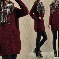 Sweater dress knitwear cotton sweater tops large knitted sweater coat casual loose sweater blouse plus size sweater cotton blouse - Wine Red