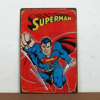 SuperMan tin Signs Gift Kid's room Wall art Painting Poster Bar Craft Decor = 1946160132