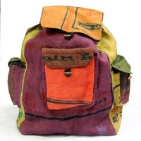 Hippie Hobo Recycled Jute Rice Backpack Hand Made Nepal