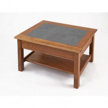 Manchester Wood Slate Top Coffee Table with Shelf in Golden Oak - 7593.3 - Accent Tables - Decor