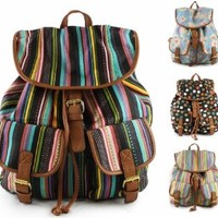 B83 WOMENS LADIES RETRO STRIPE POLKA DOT FLORAL NOVELTY RUCKSACK BACKPACK SHOULDER BAG - SHU CRAZY