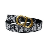 Dior Women's  Men's Fashion Smooth Buckle Belt Leather Belt Monogram Leather Belt