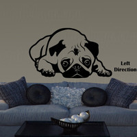 Pouting Pug decor pugs vinyl wall decal, dog animal lover black pug fawn pug cute puppy wall sticker, gift ideas DYI projects, crafts