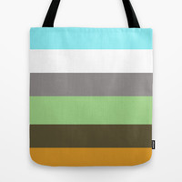 modern, cool, bold brown, yellow, blue color strips. Tote Bag by PatternWorld