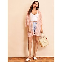 SHEIN Open Front Split Side Semi Sheer Jacquard Kimono