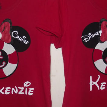 Disney Cruise Minnie Mickey Mouse Anchor - Disney Birthday Family Custom T-Shirt Personalized Applique