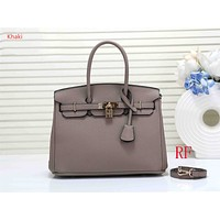 "Vsgirlss ""Hermes"" new ladies fashion simple casual top layer leather lychee pattern shoulder bag Khaki"