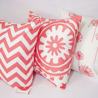 Three Coral Decorative Throw Pillows Coral and White - 16 x 16 inches Throw Pillow Couch Pillow Accent Pillow