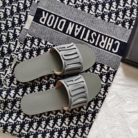 New metal letter flat slippers leisure flip-flop beach sandals slippers Gray