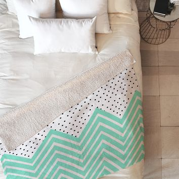 Allyson Johnson Minty Chevron And Dots Fleece Throw Blanket