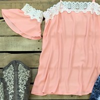 off shoulder top with straps and crochet detail