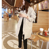 Korean version of the new solid color loose military equipment windbreaker jacket