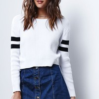 Glamorous Stripe Cropped Pullover Sweater - Womens Sweater