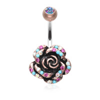 Vintage Boho Gleam Rose Belly Button Ring Navel Ring Body Jewelry