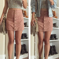 Heather Suede Skirt