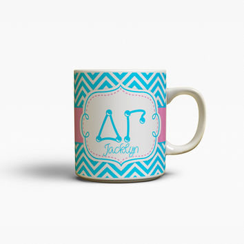 DELTA GAMMA - THIN BLUE CHEVRON WITH PINK - DG COFFEE MUG