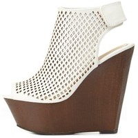 Bamboo Perforated Peep Toe Platform Wedges by Charlotte Russe