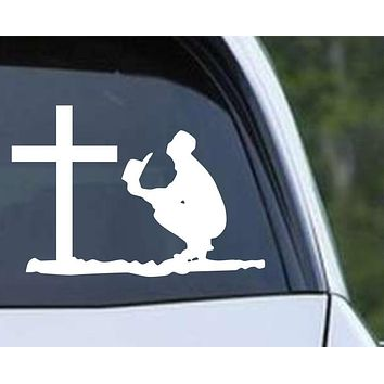 Cowboy Praying at the Cross Christian Die Cut Vinyl Decal Sticker
