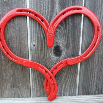 Red Horseshoe Heart  Great for Valentine's, Home and garden decor, Rustic, Country, Ranch, Farmhouse