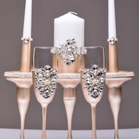 wedding unity candle Holders candle and wedding glasses ivory and silver Unity candle set and toasting flutes