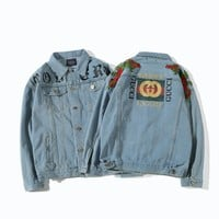 GUCCI Fashion Flower Embroidery Distressed Denim Cardigan Jacket Coat