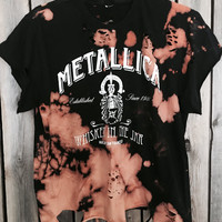 Metallica Bleached, distressed with holes cut off tee, rock n roll, concert tee, band shirt bleached size large