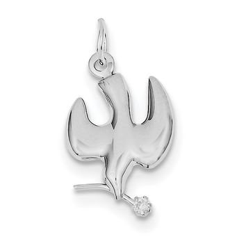 10.6mm 925 Sterling Silver Polished and Satin Dove Cross Pendant