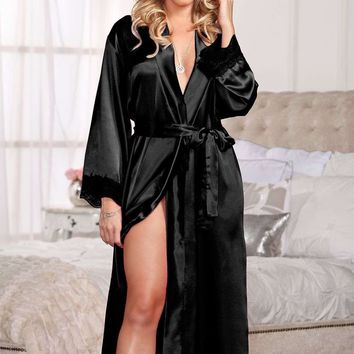 iCollection Lingerie Long Satin & Lace Trimmed Robe
