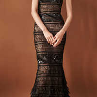 Strapless Lace And Sequined Gown With Ruffle Detailed Hem   Moda Operandi