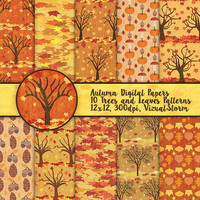 Fall Digital Paper Printable Autumn Scrapbooking Paper Pack Trees Leaves Acorns Pumpkins Fall Harvest Patterned Paper Foliage Backgrounds