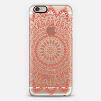 BOHEMIAN FLOWER MANDALA IN CORAL - CRYSTAL CLEAR PHONE CASE iPhone 6 case by Nika Martinez   Casetify