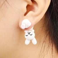 Handmade Polymer Clay White Rabbit Stud Earrings For Women Fashion Animal brincos Piercing Earrings Jewelry bijoux 8569