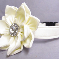 Designer Dog Collar and IVORY Flower CUSTOM - Ivory Wedding Dog collar and Petal Flower -Wedding Dog Collar and Flower Combo