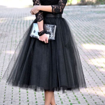 Long Sleeve Tulle Black Prom Dress Homecoming Dress