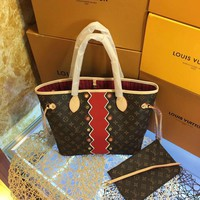 Louis Vuitton Limited Edition Neverfull V Pink/Grenade w/pouch 5558