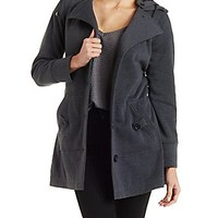 HOODED AND BELTED FLEECE COAT WITH POCKETS