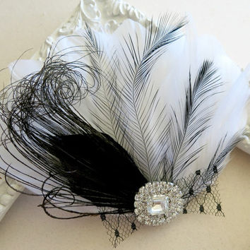 Black and White, Bridal Hair Piece, Hair Clip, Veil Clip, Feather Fascinator with Vintage Style Jewel