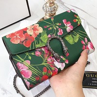 Onewel  GUCCI New Fashion Floral Leather Chain Shoulder Bag Crossbody Bag Green