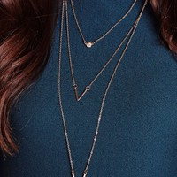 Missguided - 3 Layer Chevron Necklace Gold
