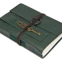 Green Leather Journal with Lock and Key Bookmark