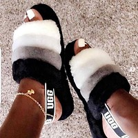 UGG Winter High Quality Hot Sale Women Casual Fluff Yeah Slippers Shoes Black White