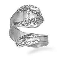 Spoon Ring Sterling Silver Floral