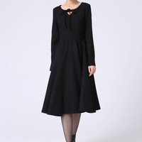 Black Winter Party Dress or Day Dress - Wool Christmas Fit-and-Flare Swing Dress with Round Neckline & Long Sleeves (1055)