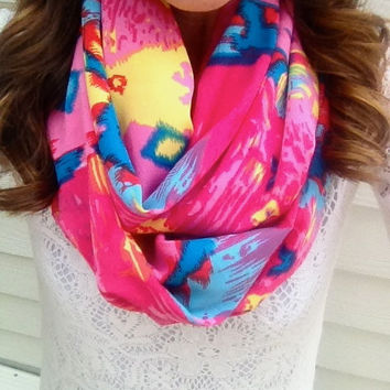Hot Pink Aztec Infinity Tribal Scarf