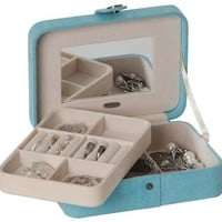 Mele & Co. Giana Plush Fabric Jewelry Box with Lift Out Tray in Aqua