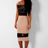 Entrapture Nude & Black Lace Sheer Midi Dress | Pink Boutique