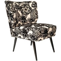 Club Armchair in Black and White Flowers, Germany, 1960s
